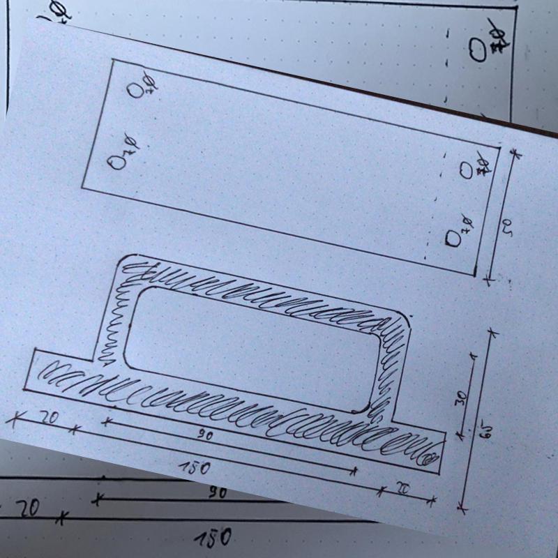 Handskizze für Bauteil/Idee